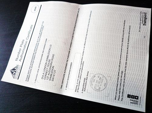 DVLA Number Plate Authorisation Certificate