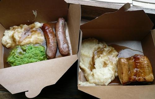 Sausage & mash potatoes/peas, Sausage Roll & mash