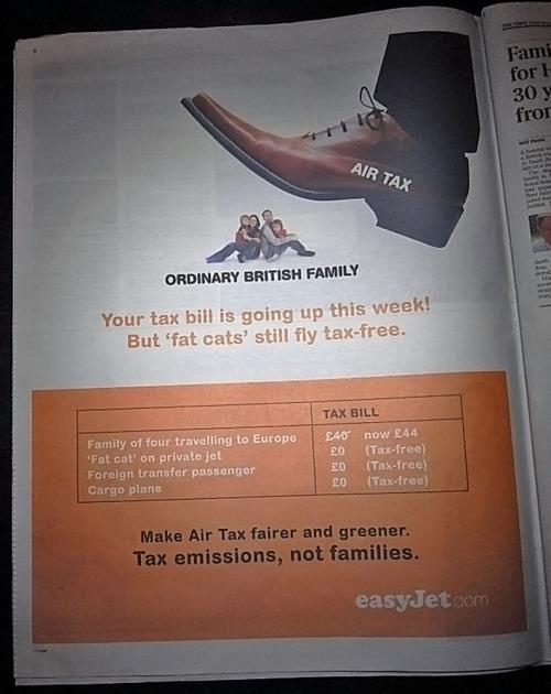 Air Tax Increase: Ad by Easyjet