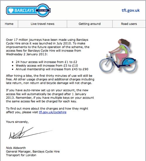 Barklays Bike Hire new fare 2013