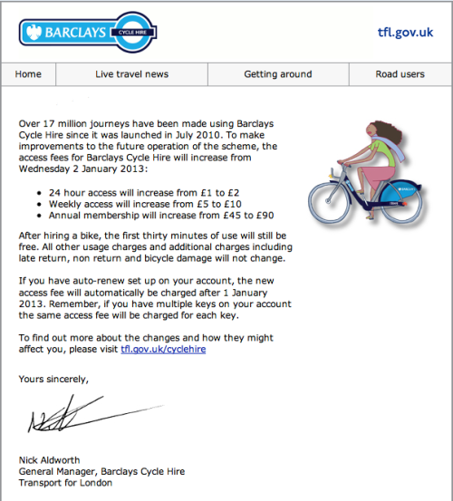 Barklays Bike Hire new fare 2013